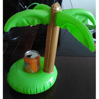 Hot Palm Trees Floating Inflatable Drink Can Holder for Cola Cup/Cell Phone/Remote Controller Summer Pool Swim Toy