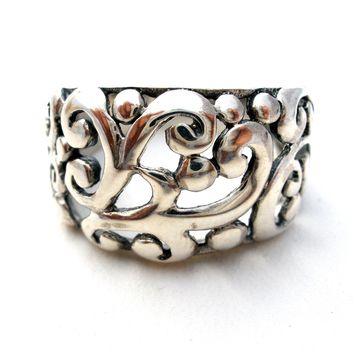 Wide Sterling Silver Band Ring Filigree