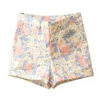 Retro High Waist Shorts in Floral Print