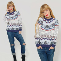 Vintage 90s SNOWFLAKE Sweater Winter FOLK Ski Sweater Pullover CHRISTMAS Jumper