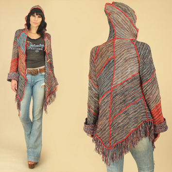 ViNtAgE 70's Space Dyed Hooded Sweater // Fringe Cardigan Poncho // Wood Toggle Buttons // Chunky Knit Bell Sleeve Cuffs // HiPPiE BoHo M