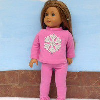 Pink Snowflake T Shirt with Pink Leggings, Appliqued Snowflake Doll Shirt, Doll Pajamas, fits 18 Inch Dolls such as American Girl Dolls