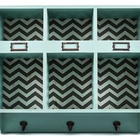 Turquoise & Chevron Wood Shelf with Slots & Hooks | Shop Hobby Lobby