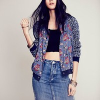 Free People Womens Spot the Homerun Baseball Jacket -