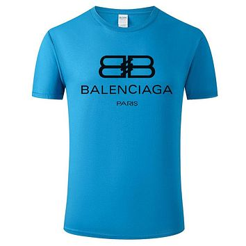 Balenciaga 2019 new double B printed letter round neck half sleeve T-shirt blue