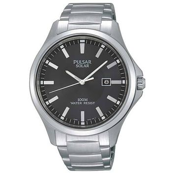 Pulsar Mens Business Collection Solar Watch - Black Dial - Stainless Steel Case