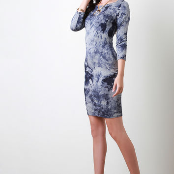 Tie Dye Long Sleeve Bodycon Dress