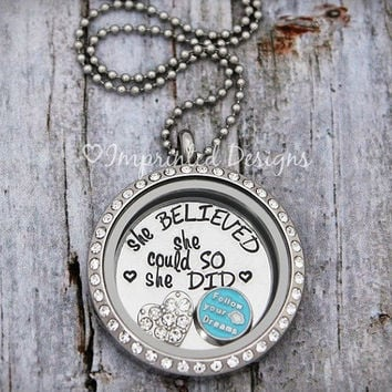 Floating Locket - Memory Locket - Floating Charm Locket - She Believed She Could So She Did
