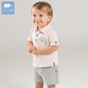 DB7233 dave bella summer baby boys pink clothing sets children infant toddler suit kid's high quality clothes