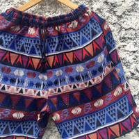 Unique Native Aztec Woven Shorts Tribal Hippie Boho festival Ethnic Style Clothing Beach Summer Mexican Burning man Southwestern For Unisex