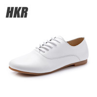 HKR 2016 women oxford shoes ballerina flats shoes women genuine leather shoes moccasins lace-up loafers black casual shoes 051