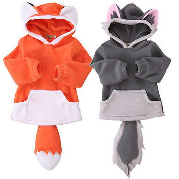 Cartoon Fox  Baby Boys Girls Kids Coat Hoodie Jacket Sweater Pullover Outwear  Polar Fleece Cartoon Hoodie Coat Warm Fox Jacket