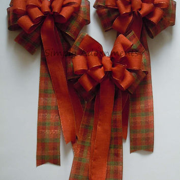 Fall Plaid Pew Bow Fall Country Wedding Bow Rustic Fall Plaid Wedding Aisle Decor Burnt Orange Wedding Pew Bow Thanksgiving Wreath Bow