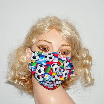 Dust mask, Soccer balls, Flags, Men and Women, cotton reusable mask, face mask, surgical mask, sport, soccer fan
