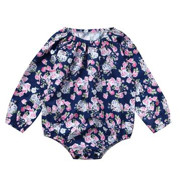 Floral Newborn Baby Girl Romper Clothes Long Sleeve Infant Kids Jumpsuit One Pieces Playsuit Outfits Sunsuit Clothing 0-24M