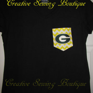 SHIPS FREE Custom handmade game day tee shirt your choice of size, color, pocket fabric and team