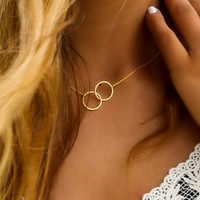Linked Together Two Gold Ring Linked Necklace