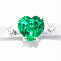 1 Carat Emerald Heart Diamond Ring .925 Sterling Silver Rhodium Finish White Gold Quality