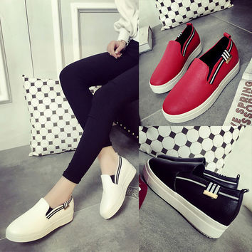 Autumn Low-cut Patchwork Canvas Casual Simple Design Thick Crust Flat Shoes [9432944394]