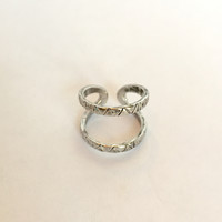 Peaks Knuckle Midi Ring- Antique Silver