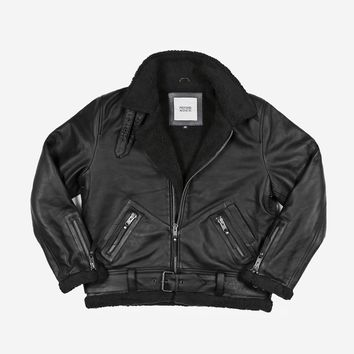 B-3 Leather Shearling Bomber Jacket in Black