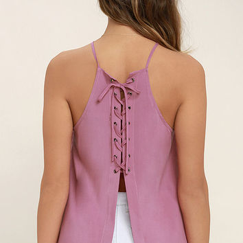 Laced Back Mauve Pink Lace-Up Top