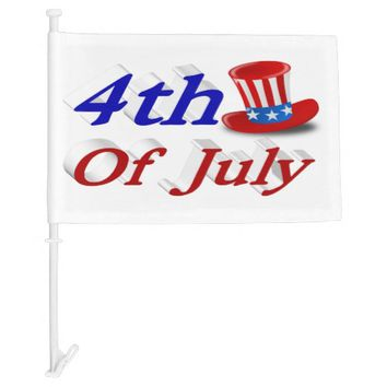 4th of July Uncle Sam Hat 3D Car Flags Car Flag