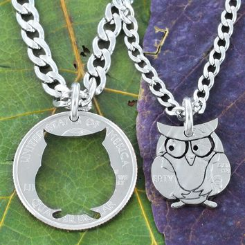 Hoot or Barn Owl Necklaces for Best friends, Hand Cut Quarter