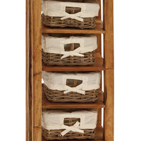 Storage Unit with Wooden Shelves and Warm Rattan Baskets