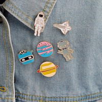 Cartoon Outer space Metal pins button Universe Warfare Space shuttle Astronaut Robot Planet Brooch set Jacket Collar pin Jewelry