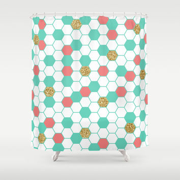 Mint Coral Gold Glitter Honeycomb Scatter Shower Curtain By Douc