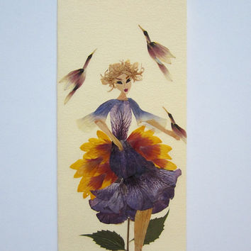 "Handmade unique greeting card ""In good company"" - Decorated with dried pressed flowers and herbs - Original art collage."