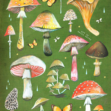 Mushroom Chart Print | Fungi Identification | Watercolor Wall Art | Fungi Identification | Field Guide | Katie Daisy |  8x10 11x14