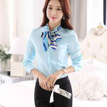 Ladies OL Shirts 2015 New Fashion Women Blouse Long Sleeve Bow Tie Formal elegant Blouses White Sky Blue Female Tops Work Wear