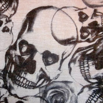 LOVESICK Awesome Rockabilly Skull Rose Cotton Jersey Knit Fabric BTY