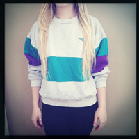 Hipster Sweater: Grey Green Purple Pullover Hoodie