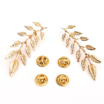Gold Plated Leaf Collar Pin Brooch