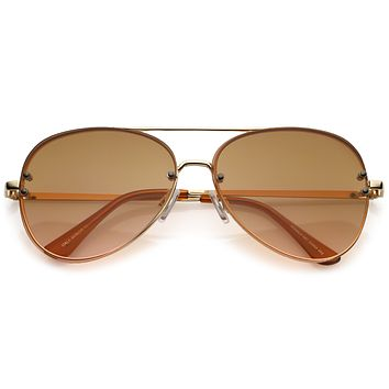 Oversize Retro Colorful Gradient Flat Lens Aviator Sunglasses A881