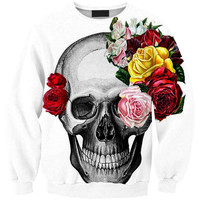 NEW Fashion skull rose prints 0452 black milk free size women girl casual Collar loose Hoodies fit spring and autumn