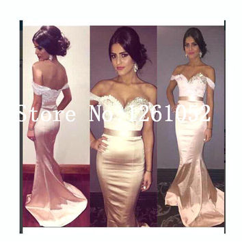 Pink Off The Shoulder Beaded Neckline Long Satin Mermaid Prom Dress