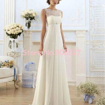 Vestido De Noiva 2016 New Stock US Size 2-22 White/Ivory Appliques Pearls A-Line Wedding Dress Wedding Gowns Robe  Mariage