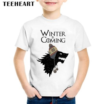 2017 Kids Summer Short Sleeve White T-shirts Children Girl Boy Game of Thrones T Shirt Baby Casual Fashion Tops Tees