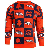 Denver Broncos Official NFL Patches Ugly Crew Neck Sweater (PRE-ORDER EXPECTED TO SHIP MIDDLE OF SEPTEMBER)