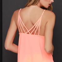 Fast Tempo Bright Coral Tank Top