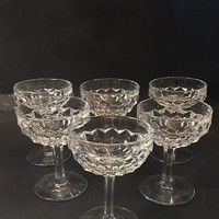 Fostoria Champagne Glasses, Set of 6 Champagne Coupes, Cubist Glass, Cocktail Glasses, Fostoria American