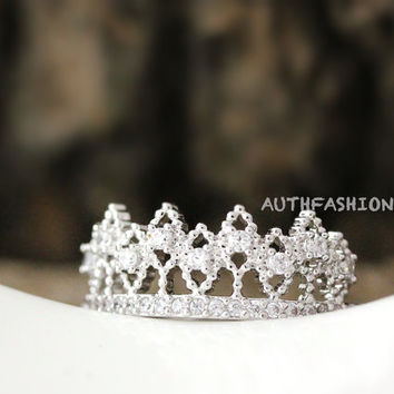 Adjustable Crystal Crown Ring Tiara Ring Princess ring Stacking ring Bridesmaid Gift Idea bycr13