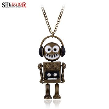 SHEEGIOR Vintage Bronze Choker Necklace Women Punk Lovely Rock Music Robot Pendants Long Necklaces Fashion Jewelry Necklace Gift
