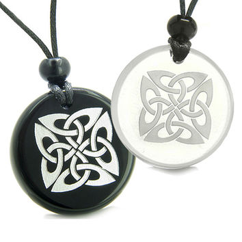 Amulets Love Couple Life Protection Celtic Shield Knot Quartz Black Agate Pendant Necklaces