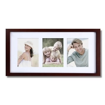 Decorative Walnut Color Wood Wall Hanging Picture Photo Frame with Mat
