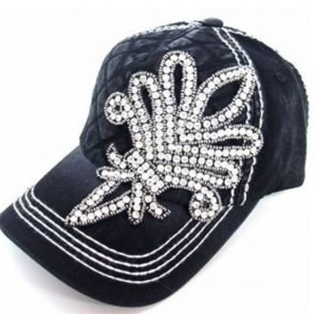 Buckle Olive and Pique Super Bling Base Ball Cap Glass Beaded Handmade Rhinestone Deep Black Fluer De Lis Bling Baseball hat 2014 - JUST RELEASED